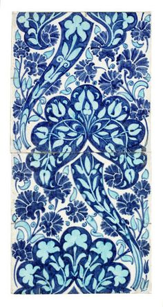 A large William De Morgan Two-Tile Persian Floral Panel Late 19th Century