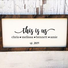 "Personalize this stylish farmhouse sign, featuring the last name of your choice, family member names and year established. You also may choose to forgo the last name for the phrase ""This Is Us"". You will be able to select which one in options. Each natural canvas comes with the rustic hand stained frame and the design is pressed with high quality vinyl. As pictured, this is a 24 x 12 inch in total framed size. Each sign is handmade and will vary slightly. The fra..."