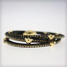 Tomasz Donocik Tomasz Donocik Rising Star Short Wrap Yellow Gold Swarovski Set Leather Bracelet at Cotton & Gems