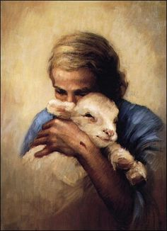 This sketch of*Jesus and the Lamb* is a comforting depiction of a tender embrace by the nail-scarred hands of the Savior.