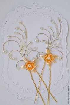 Купить свадебные шпильки, жемчужные шпильки для волос - золотой, шпильки для невесты, шпильки для волос