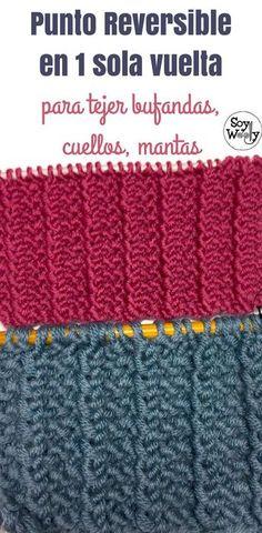 Reversible o Doble Faz, con textura, vertical, muy fácil de tejer, ideal para tejer bufandas, mantas, cuellos, no necesita bordes y se hace en 1 sola vuelta, combinando derecho y revés: ideal para principiantes de las dos agujas. Tutorial paso a paso con vídeo #