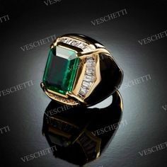 GREEN INLAY Emerald, mother of pearl inlay and diamonds ring Mens Diamond Jewelry, Sapphire Jewelry, Cushion Cut Diamond Ring, Cushion Cut Diamonds, Mens Gold Rings, Rings For Men, Bridal Jewellery Boxes, Gents Ring, Men's Jewelry Rings