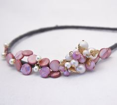 beaded headband for women with vintage accents by BeSomethingNew, $32.00