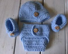 Crochet Baby boy Newsboy Hat with Diaper cover And fold over Booties- Gift set- Light bluy MADE TO ORDER