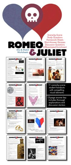 Use this visually stunning package of scene-by-scene questions covering William Shakespeare's timeless tale of tragic love, Romeo and Juliet, to pull your students into the text and inspire them to think deeply about Shakespeare's characters and themes.