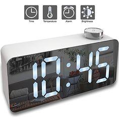 Alarm Clock Digital Led Display Time Snooze Temperature Brightness Dimmer Desk For Kids Heavy