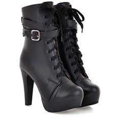 Aisun Women's Lace Up High Heeled Mid Calf Ankle Boots (120 BRL) ❤ liked on Polyvore featuring shoes, boots, heels, ankle boots, black, black bootie, high heel boots, short black boots, lace up ankle boots and black boots
