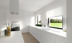 All white kitchen Kitchen Dinning, New Kitchen, Kitchen Decor, Kitchen White, Küchen Design, House Design, Design Ideas, Kitchen Blinds, Interior Minimalista