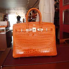 crocodile hermes bags in orange color