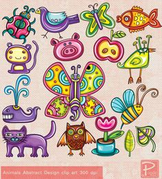 Animals Abstract Paper Goods Use Clip Art by PoodeDesigns on Etsy, $5.00