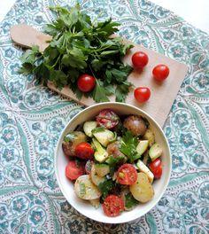 Cold potato & zucchini salad! The perfect side dish! http://minmatglede.wordpress.com/2013/08/21/seasonal-potato-zucchinisalad/