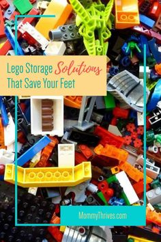 Lego Storage Solutions That Save Your Feet - Mommy Thrives - - As a parent I've stepped on Legos more than I care to count. That's why I started looking up different storage system ideas to get Legos off the floor. Lego Storage Boxes, Lego Table With Storage, Lego Storage Brick, Kid Toy Storage, Cool Lego, Cool Toys, Awesome Toys, Learning Toys For Toddlers, Toddler Learning
