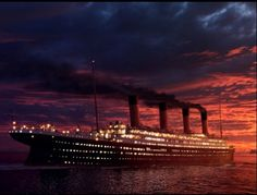 Sunsetting behind the titanic