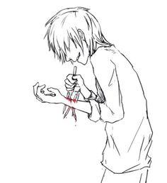 (Sly Silver Fox - Boy Self Harm - Don't self harm, go ask me to hug you instead :V)