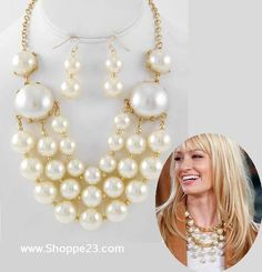 Ivory Pearl Necklace Gold Two Broke Girls <3 Designer (Chanel) Inspired Jewelry Boxed $33 Free USA Shipping