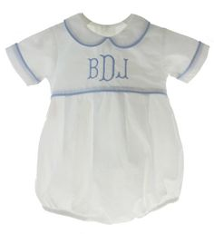 b0d4ff56 Infant boys white bubble outfit with round Peter Pan collar trimmed in blue  gingham fabric looks
