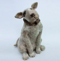 Small Ceramic English Bull Terrier Dog Sculpture from Lazy Dog Gallery