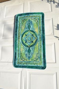 art deco quilts | Wall Hanging Green Art Deco Art Nouveau Style Table Runner Small Quilt ...