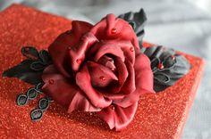 Red Silk Rose Hair Clip Hair Flowers Floral by JanaRoyaleDesign