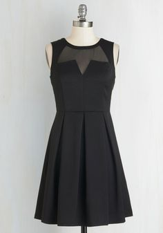 Seen Around Town Dress - Black, Solid, Pleats, Party, LBD, A-line, Sleeveless, Crew, Short, Girls Night Out