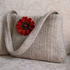 oatmeal Blakely felted wool handbag with felted flower brooch ♡