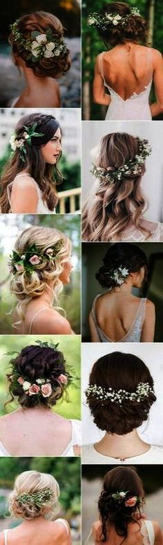 18 Trendy Wedding Hairstyles with Flowers – Page 3 of 3 Romantic beach wedding hair styles for long hair! I love all of the florals in the updos, and the long romantic waves are beautiful. These are the perfect hair do's for a beach wedding. Beach Wedding Hair, Wedding Hair Flowers, Wedding Hair And Makeup, Flowers In Hair, Wedding Updo, Wedding Dresses, Wedding Shoes, Wedding Colors, Bridal Hair With Flowers