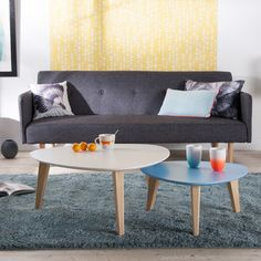 Canapé clic-clac tissu 2 places + pieds bois design LAURETTA kaligrafik port offert vente privée