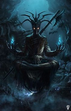Metalish Creature holding blue flames in each hand sitting in yoga pose. It would be cool tattoo. Bryan Marvin P. Sola