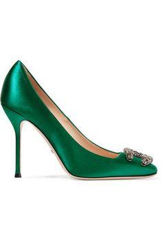 Gucci | Dionysus embellished satin pumps