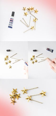 She Lets Her Hair Down: Star hairpins DIY