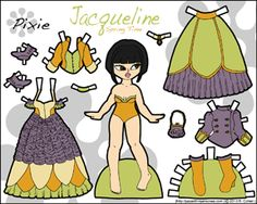 My fantasy paper doll in three different color schemes and a black and white version. She's from 2013.