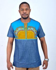f47f8b49261 Doumba Dashiki African Traditional Shirt Attire Blue Chemise Wax