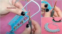 Diy Crafts - Knitting,ladies-Knitting Hairpin Necklace Models for ladies who want you today with Hairpin . Hairpin Lace Crochet, Bead Crochet, Crochet Earrings, Diy Crafts Knitting, Diy Crafts Crochet, Fabric Jewelry, Beaded Jewelry, Beaded Necklace, Wie Macht Man