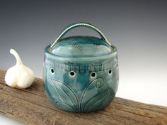 Garlic Keeper in Teal - Pottery Garlic Jar - by DirtKicker Pottery
