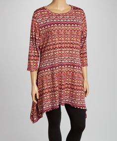 Love this Red & Orange Abstract Chevron Sidetail Tunic - Plus on #zulily! #zulilyfinds