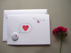 Karte für Verliebte / card for lovers by Rotkehlchen via DaWanda.com