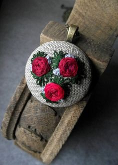 Hand embroidered pendant with roses by ZoZulkaart on Etsy