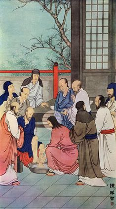 Washing the diciples' feet, if Jesus Was Chinese: 8 Beautiful Paintings of the Life of Our Lord Christian Paintings, Christian Art, Religious Images, Religious Art, Christianity In Japan, Bible In A Year, Art Articles, Religious Paintings, Jesus Art