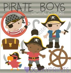 Pirate Boys Digital Clip Art from Dorky Doodles on TeachersNotebook.com -  (6 pages)  - Colored digital clip art of cute little pirate boys (girls also available).