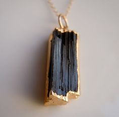 Black Tourmaline Necklace with Gold  www.etsy.com/shop/443Jewelry