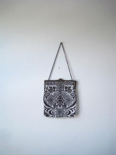 1900's white and grey beaded purse