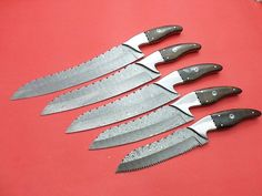 Damascus Hunting Knife 100% Craftsmanship Details HANDMADE DAMASCUS STEEL Knife set Overall Length: 9.5 to 13.5 inches Handle Material: Handle made of buffalo horn Blade Hardness: 56-60 HRC T