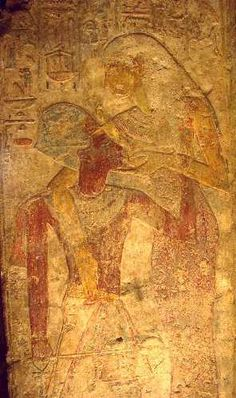 King Rameses II, ready for a war expedition, and needing divine strength, is nursed by deity Isis. Temple of Beit el Wali, Nubia, Southern Egypt. 19th dynasty.