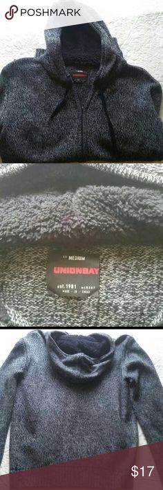 Men's Union Bay zip up sweater Men's Unionbay zip-up sweater with sherpa hood. Looks gray casual or dressy. Size medium.  Brand new condition.  Barely worn.  It is my son's and it really is just too big on him that's why it was barely worn. New $59 UNIONBAY Sweaters Zip Up