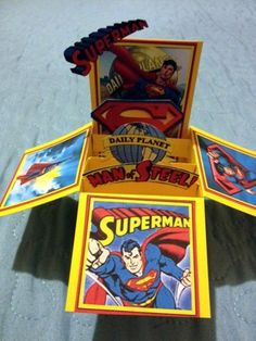 Superman Pop-up Box Card, Handcrafted