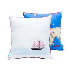TWO-SIDED MAP two-sided pillow - Lamps & Co.  Decorative and colourful pillow is a great item for children's room. Pillow has different designs on both sides, that are sure to stimulate your child's imagination.