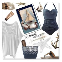 """""""Nautical Getaway"""" by truthjc ❤ liked on Polyvore featuring Bandolino, Tri-coastal Design, Guerlain, Pier 1 Imports, Nautical and onepiece"""
