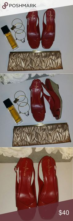 👠👠FLASH SALE 👠👠COLE HAAN Red Wedge Heel COLE HAAN red wedge heel in EXCELLENT condition Cole Haan Shoes Wedges