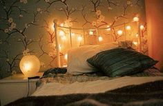 Japanese style wallpaper fairy lights ambient bedroom